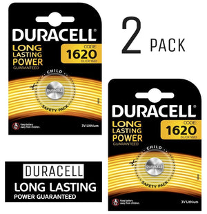 Duracell X2 CR1620 Coin Cell 3V Lithium Batteries (DL1620, ECR1620) (2 Packs)