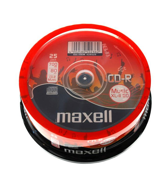 Official (25-Pack) Maxell CD-R 80 mins XL-II Digital Audio Blank Recordable Media Discs