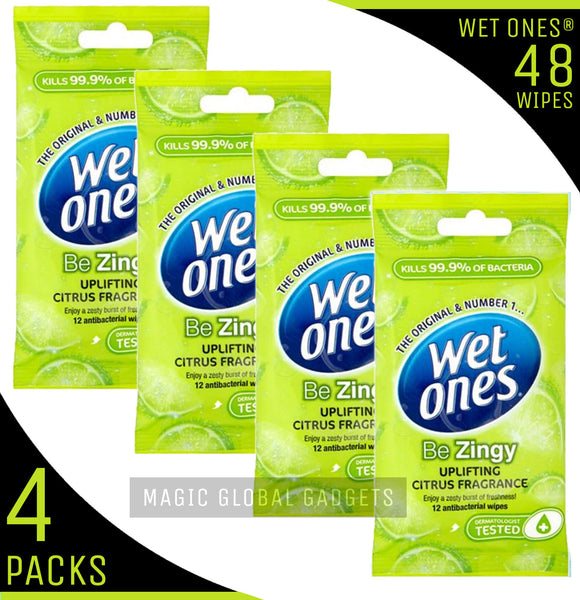 Wet Ones 'Be Zingy' Fragrance Free with Aloe Vera - 4 Packs - 48 Wipes