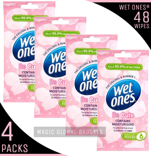 Wet Ones 'Be Cute' Fragrance Free with Aloe Vera - 4 Packs - 48 Wipes