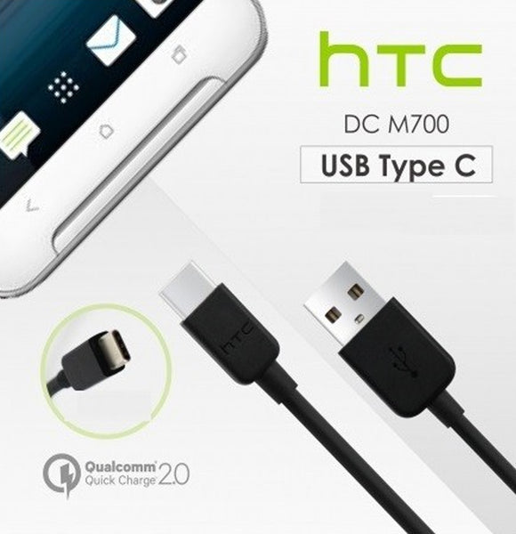 Genuine HTC Quick Charge 3.0 EU 2-Pin Mains Charger & Type-C USB Data Cable For Various HTC Phones