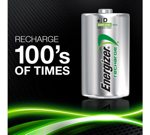 Energizer D Power Plus 2500mAh 1.2v NiMH Rechargeable Batteries - PRE-CHARGERD (Pack of 2)