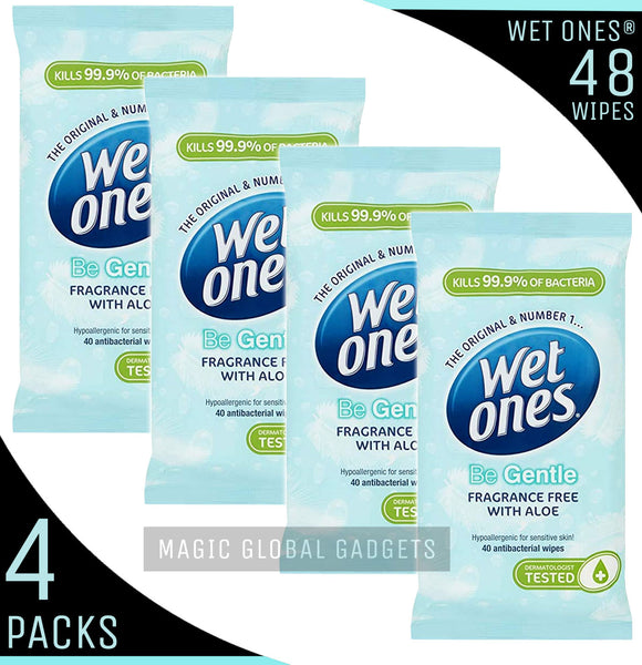 Wet Ones 'Be Gentle' Fragrance Free with Aloe Vera - 4 Packs - 48 Wipes