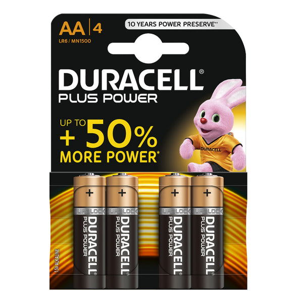 Duracell AA Plus Power 1.5v Alkaline Batteries (LR6, MN1500) - (4-Pack)