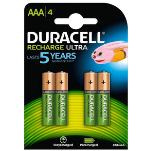 Duracell AAA 900mAh NiMH Rechargeable Batteries - Ready To Use (4 Pack)