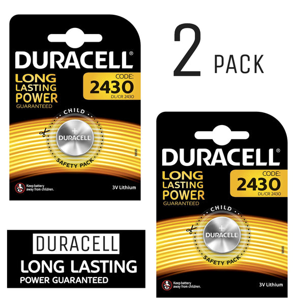 Duracell X2 CR2430 Coin Cell 3V Lithium Batteries (DL2430) (2 Pack)