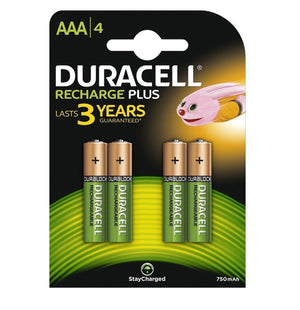 Duracell AAA 750mAh NiMH Rechargeable Batteries - Ready To Use (4 Pack)