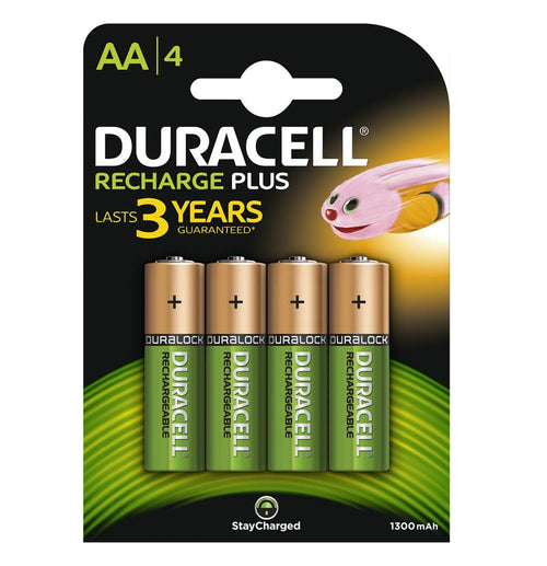 Duracell AA 1300mAh NiMH Rechargeable Batteries - Ready To Use (4 Pack)