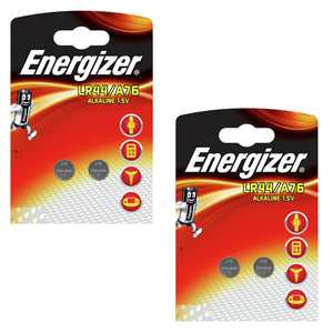 Energizer LR44 A76 1.5v Alkaline Button Cell Batteries (Pack of 4)