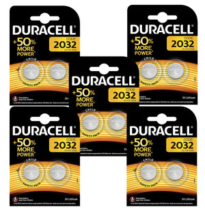 Duracell X10 CR2032 Coin Cell 3V Lithium Batteries (DL2032, ECR2032) (5 Packs)