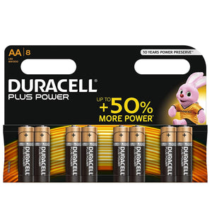 Duracell AA Plus Power 1.5v Alkaline Batteries (LR6, MN1500) - (8-Pack)
