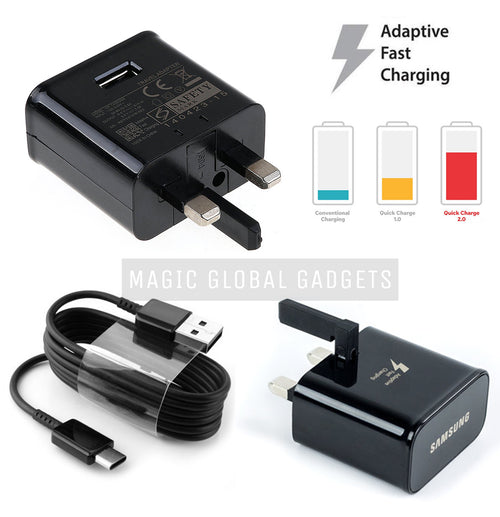 Genuine Samsung Black Fast Charger With Type-C USB Cable For Galaxy S8, S8+, S9, S9+, S10e, S10, S10+