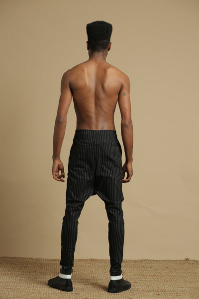 Turkish stripes pants- black