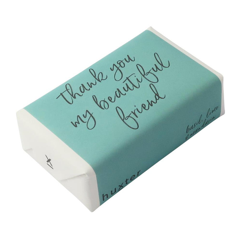 Thank you my beautiful friend - Teal w Grey Wrapped Soap - Basil Lime & Mandarin