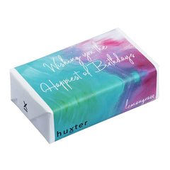 Paint - Aqua/Pink - Wishing you the happiest of Birthdays Wrapped Soap - Lemongrass