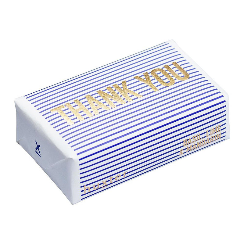 Thank you - Navy Stripes - ROSE GOLD FOIL Wrapped Soap - Basil Lime & Mandarin