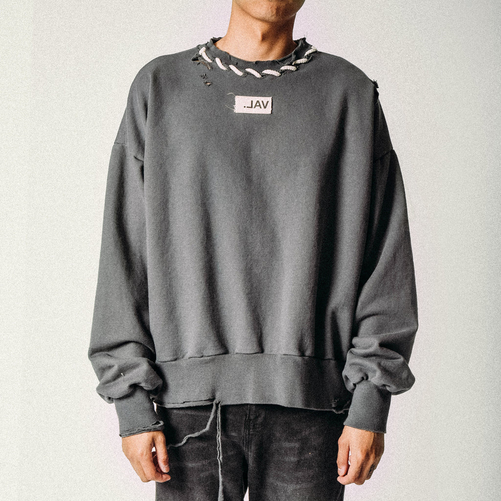 CORD STITCH CREWNECK BLACKENED PEARL