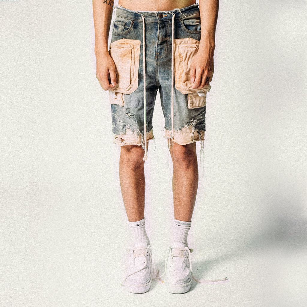CARGO DENIM SHORTS BLUE SAND
