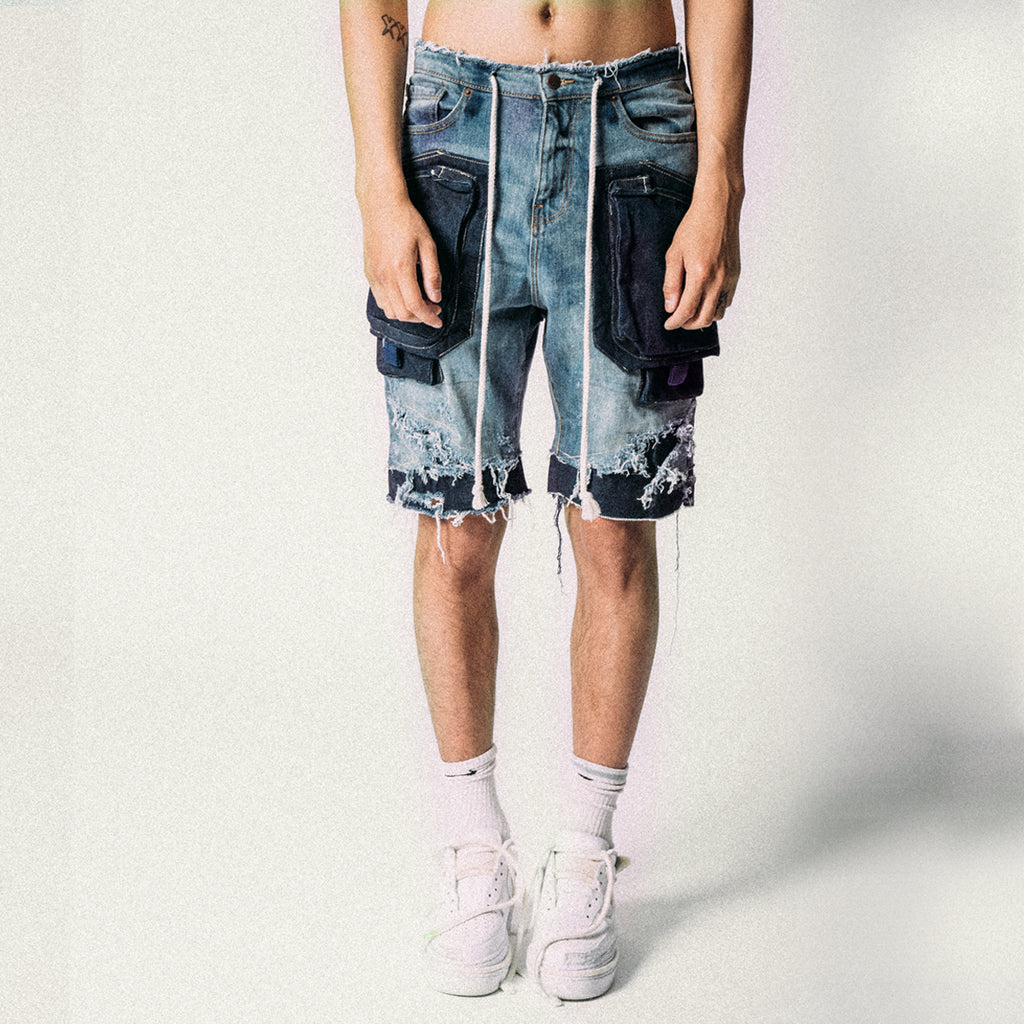 CARGO DENIM SHORTS BLUE