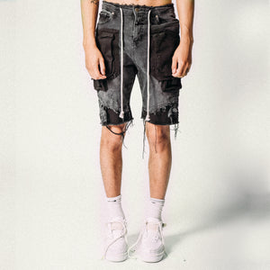 CARGO DENIM SHORTS BLACK