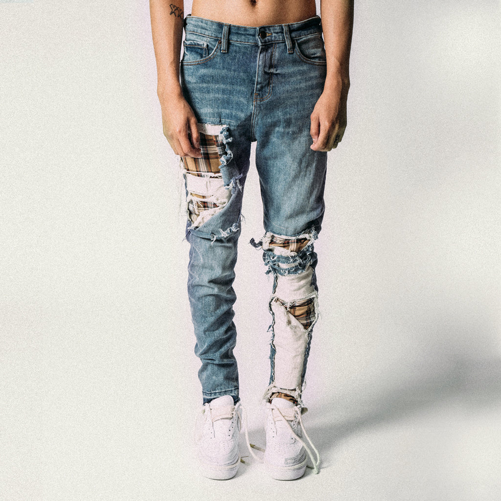 HEAVY DISTRESSED PLAID DENIM BLUE/BEIGE
