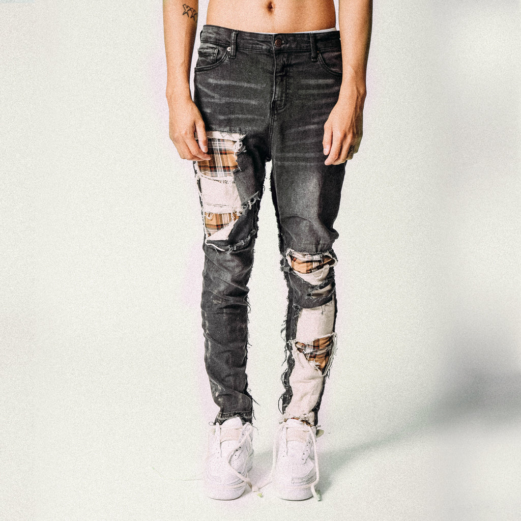 HEAVY DISTRESSED PLAID DENIM BLACK/BEIGE