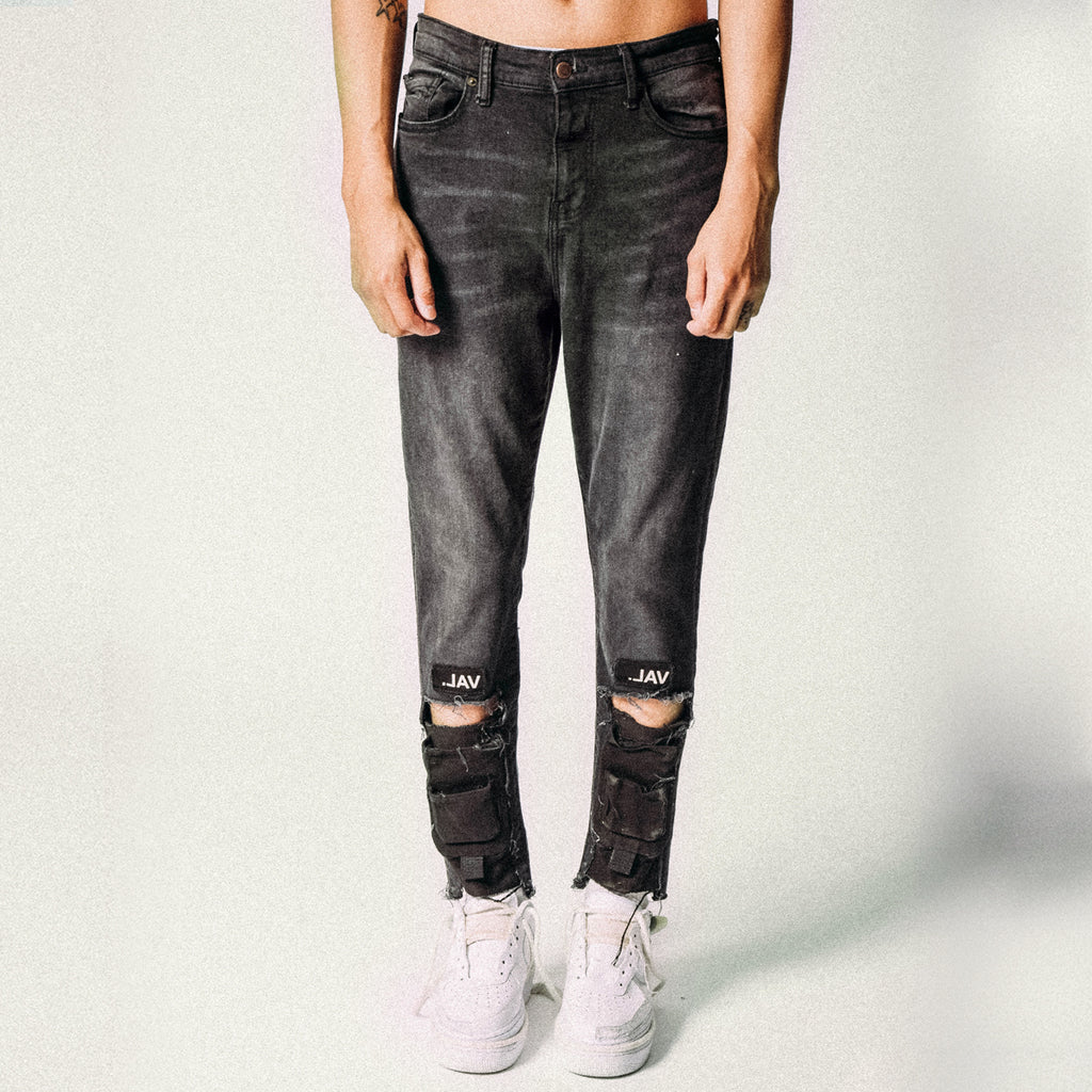 SHIN POCKET DENIM BLACK