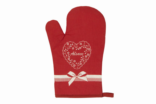 Set Glove+Potholder Coeur