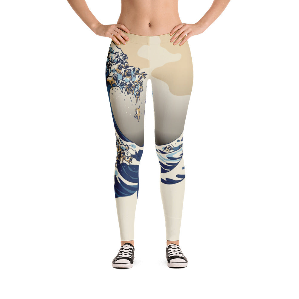 The Great Wave of Pugs Vanilla Sky Leggings