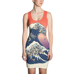 The Great Wave of Pug Sublimation Cut & Sew Dress