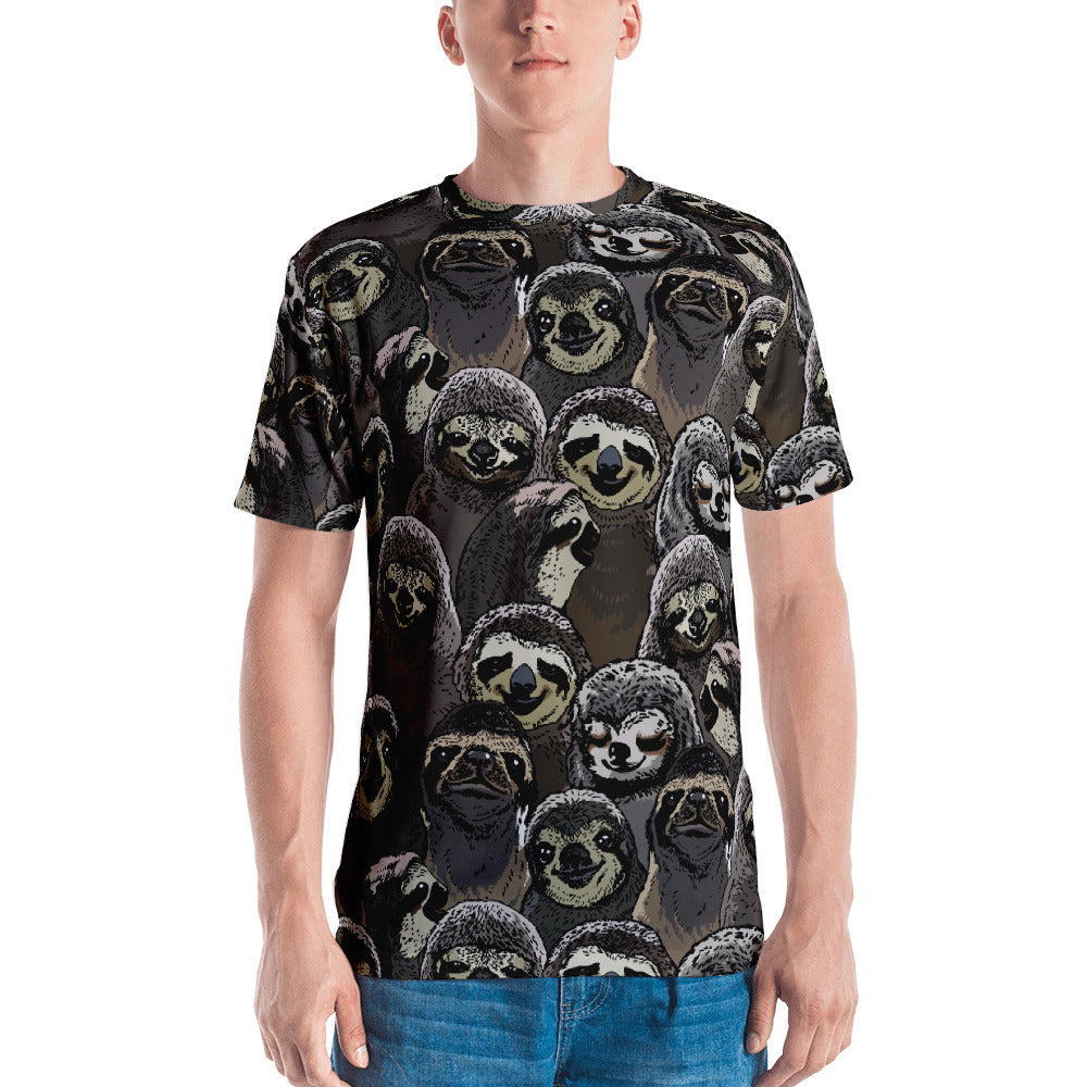 Social Sloths All-Over Cut & Sew Men's T-shirt