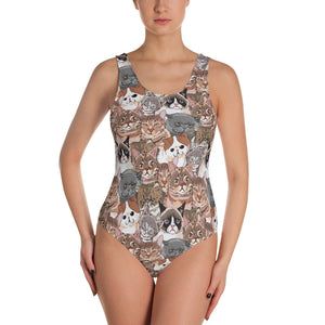 Social Cats One-Piece Swimsuit