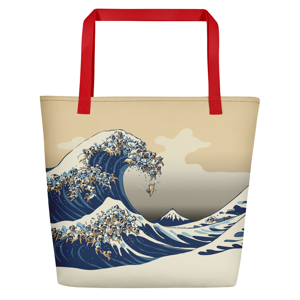 The Great Wave of Pugs Vanilla Sky Beach Bag