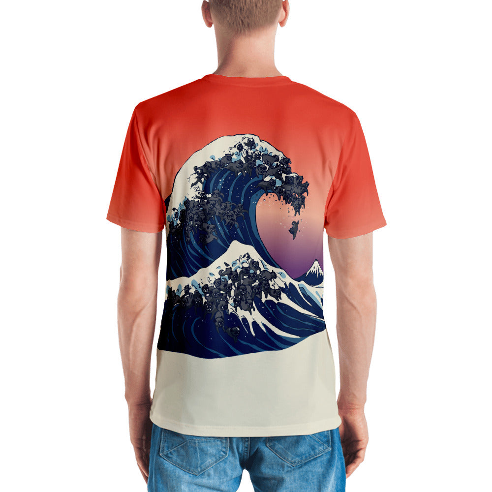 The Great Wave of Black Pugs All-Over Cut & Sew Men's T-shirt