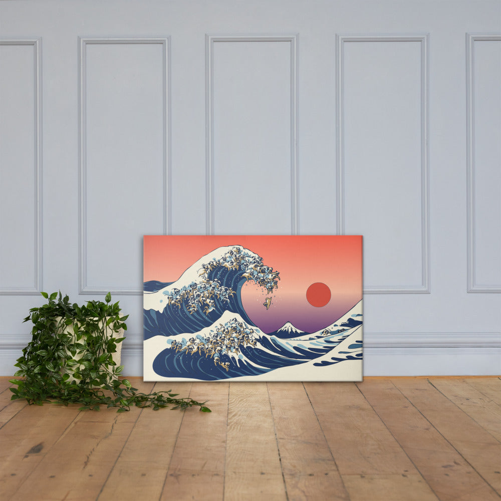 The Great Wave of Pugs Canvas