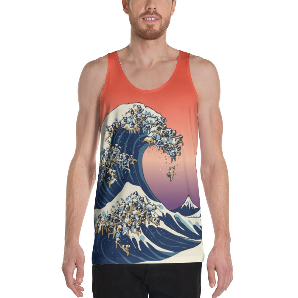 The Great Wave of Pugs Unisex Tank Top
