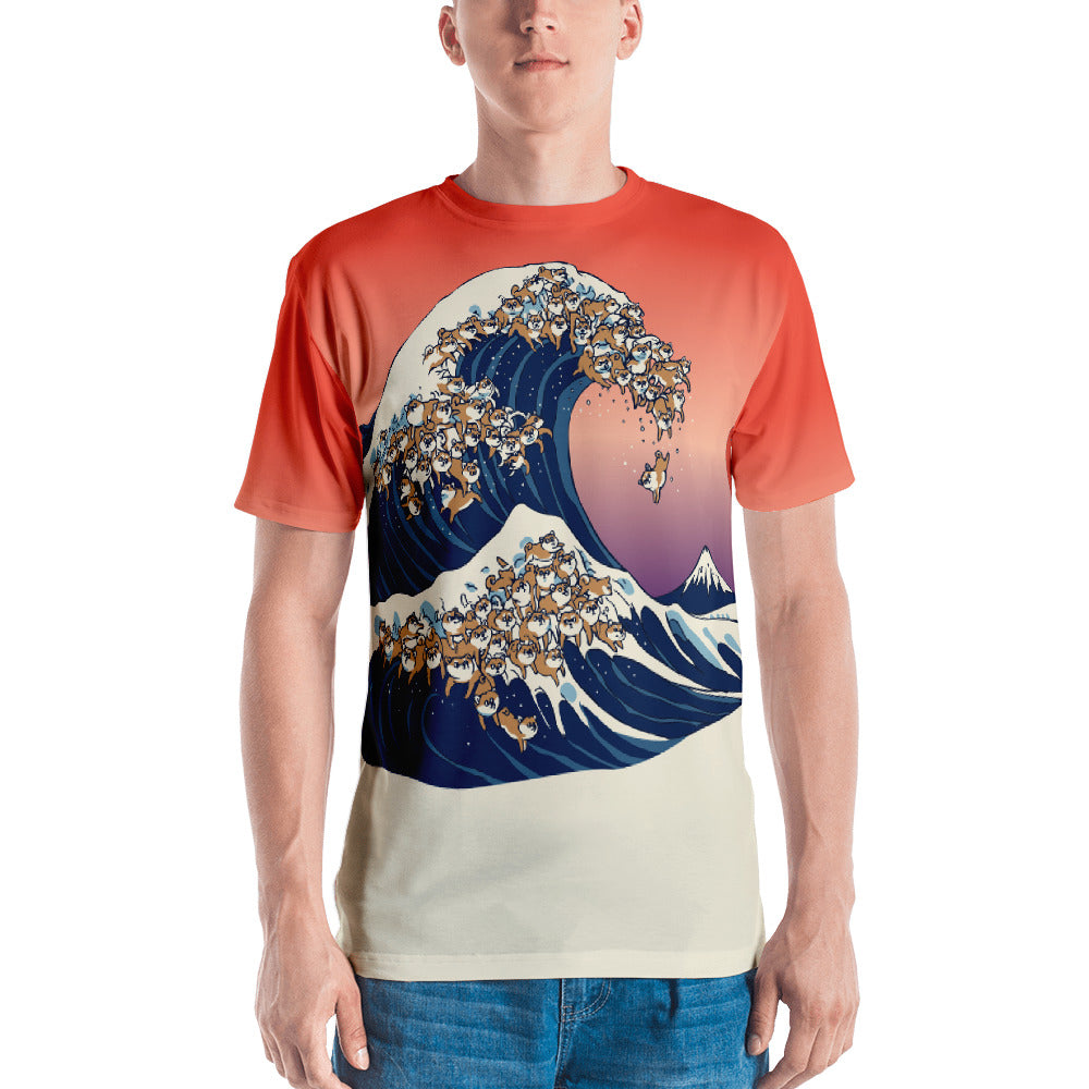 The Great Wave of Shiba Inu All-Over Cut & Sew Men's T-shirt