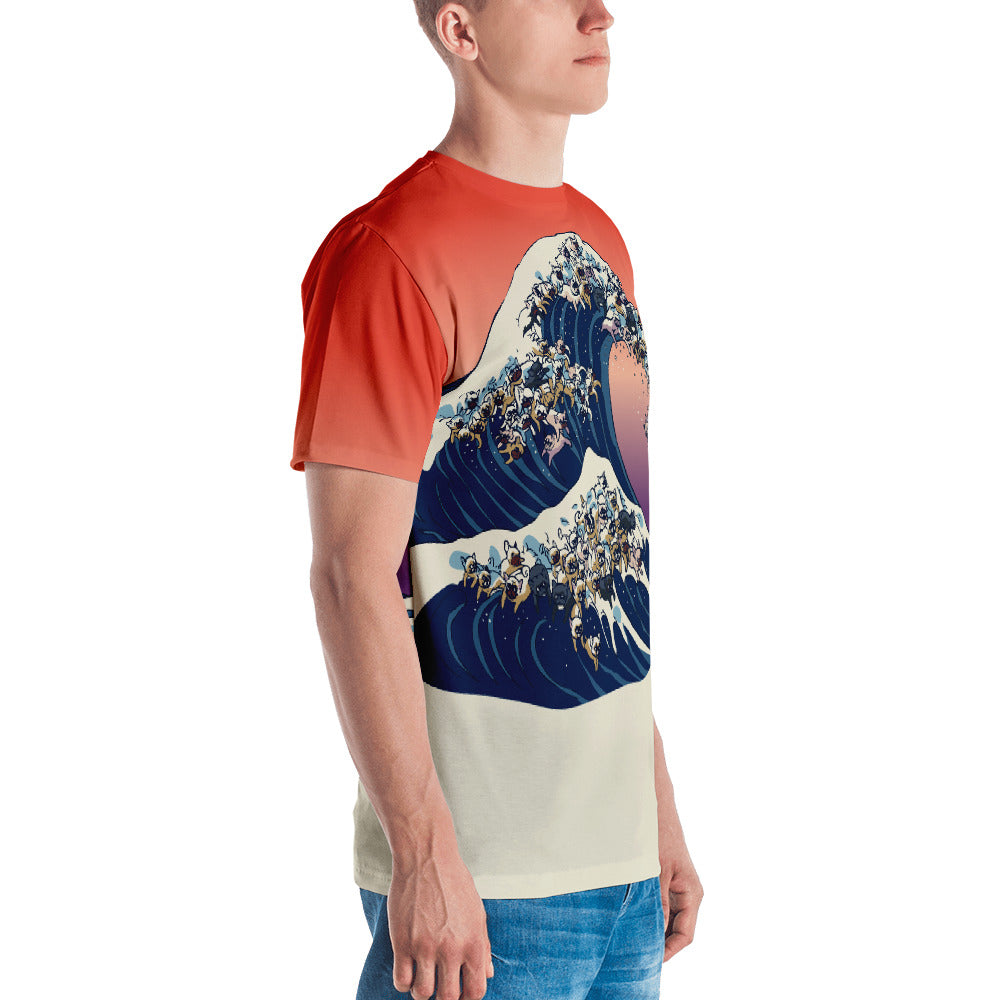 he Great Wave of  French Bulldog All-Over Cut & Sew Men's T-shirt