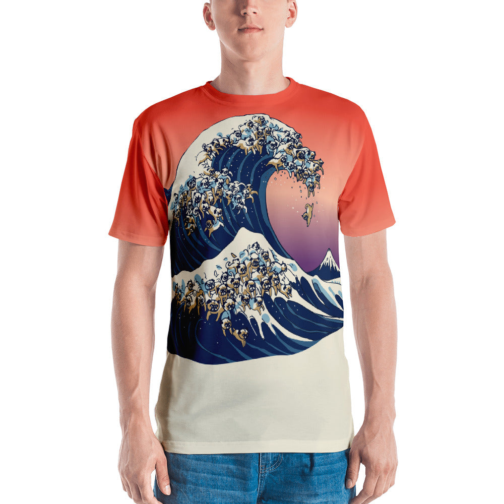 The Great Wave of Pugs All-Over Cut & Sew Men's T-shirt