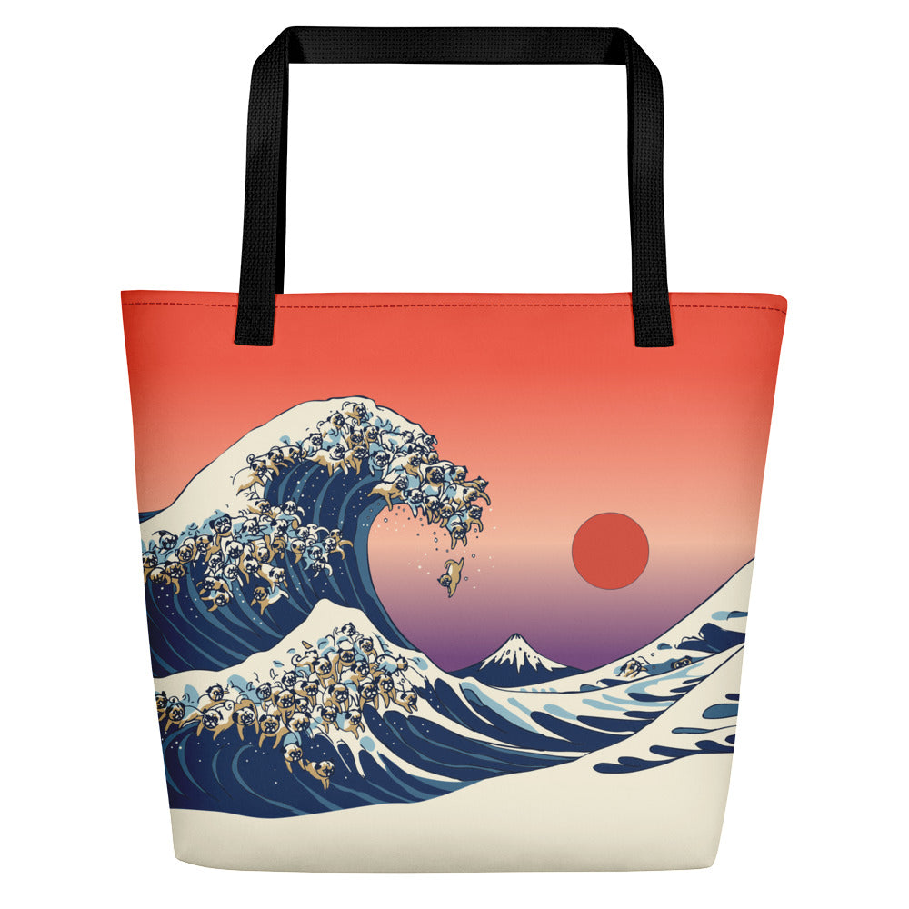 The Great Wave of Pug Beach Bag