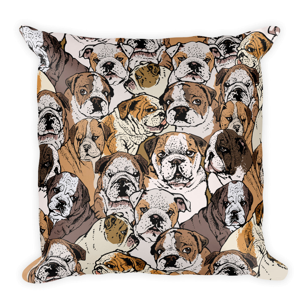 Social English Bulldog Square Pillow