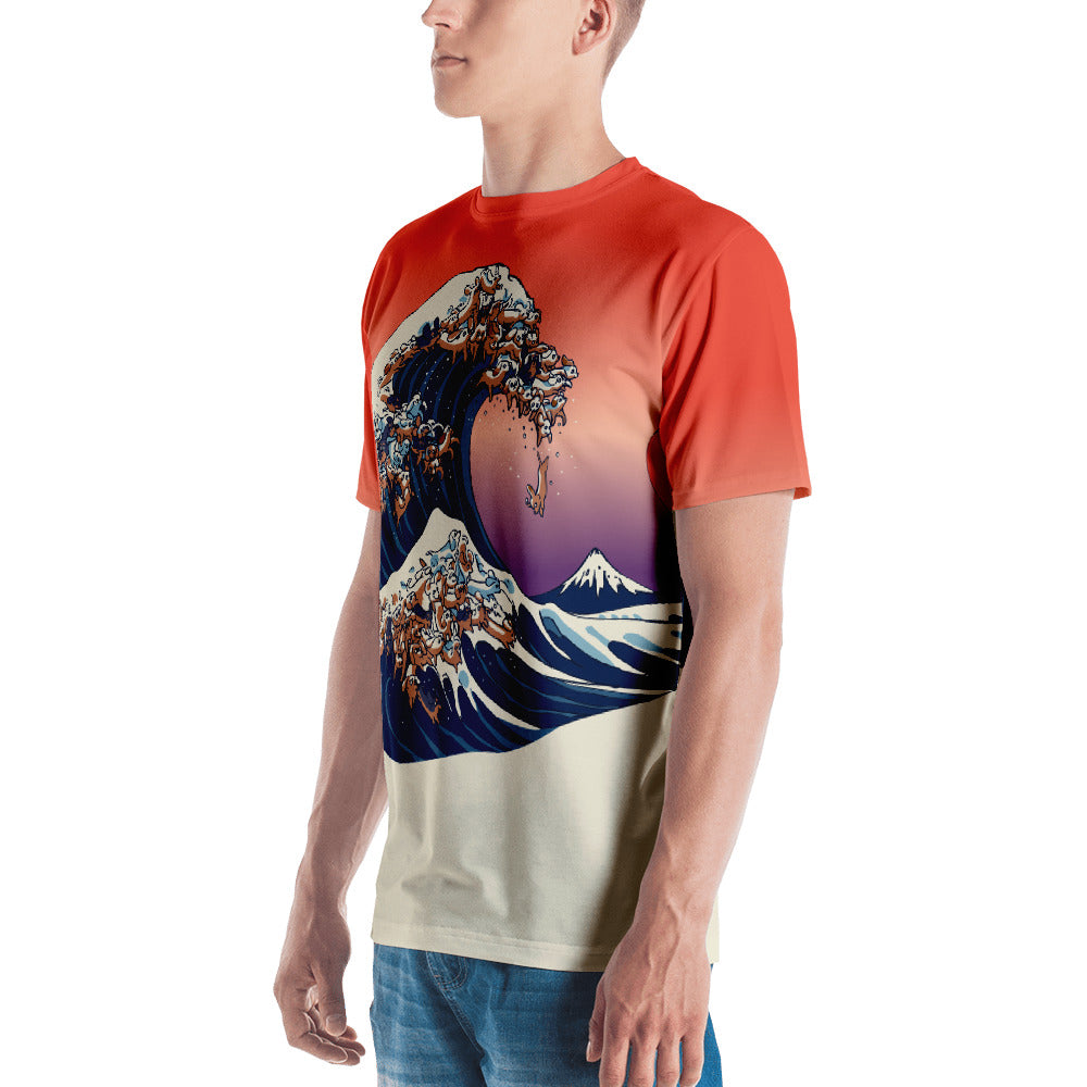 The Great Wave of Dachshunds All-Over Cut & Sew Men's T-shirt