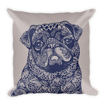 Mandala PugSquare Pillow