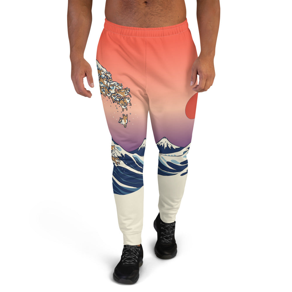 The Great Wave of Shiba Inu Men's Joggers