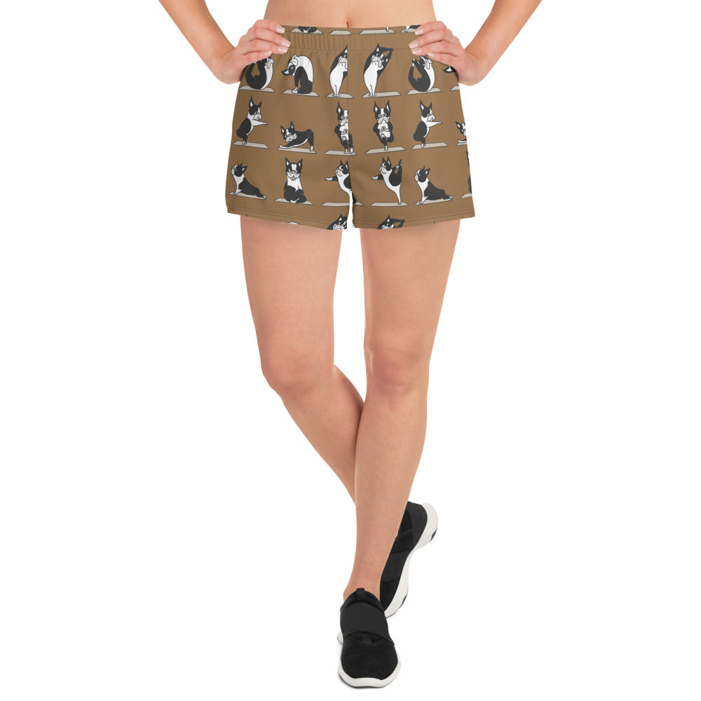 Boston Terriers Yoga Women's Athletic Short Shorts