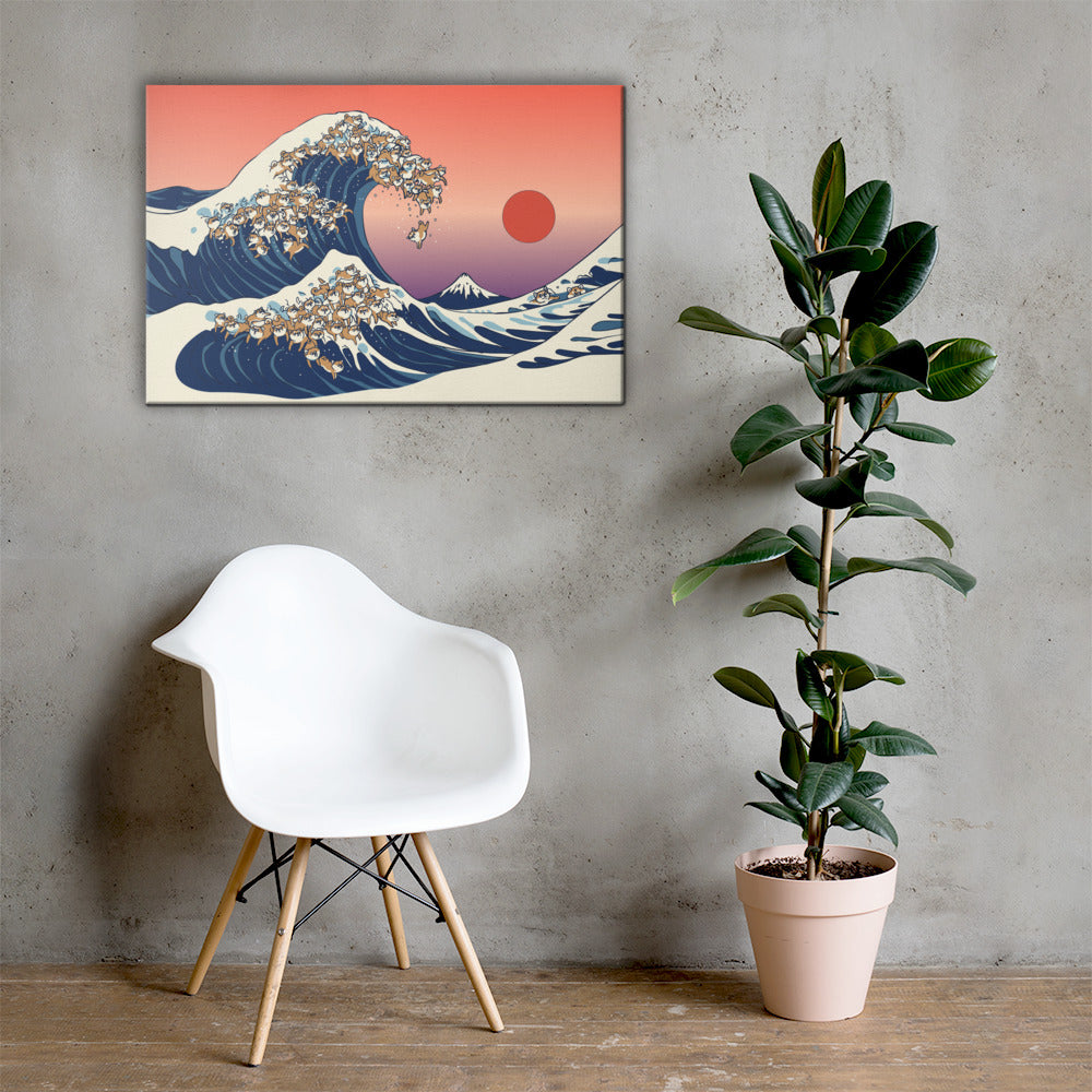 The Great Wave of Shiba Inu Canvas