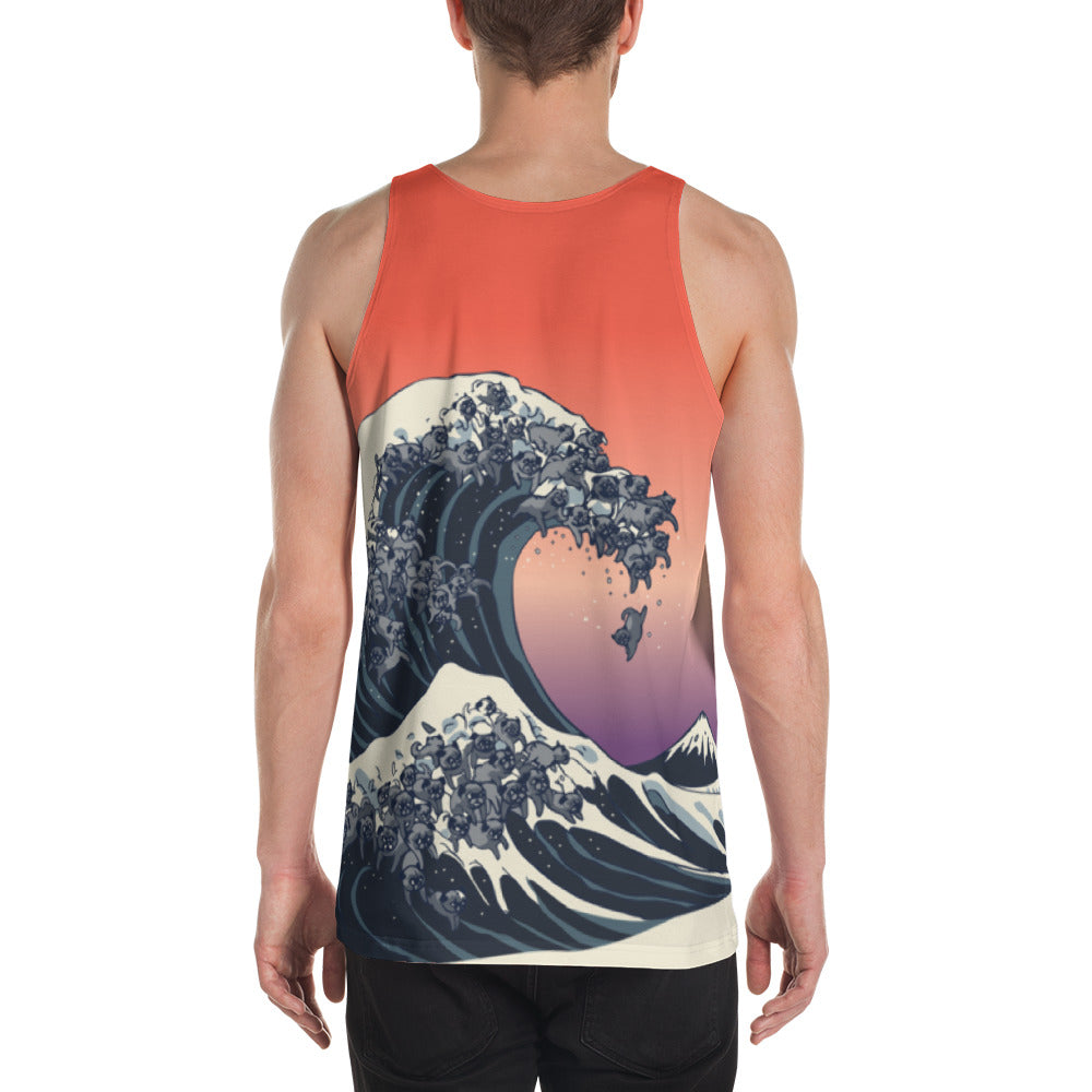 The Great Wave of Black Pugs Unisex Tank Top