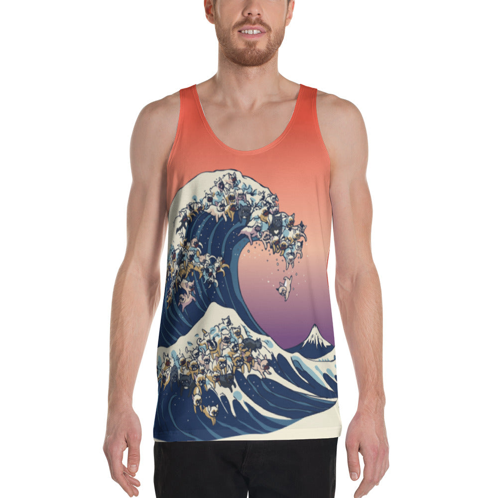 The great wave of  French Bulldogs Unisex Tank Top