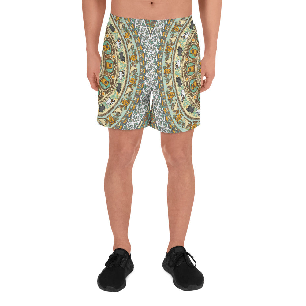 Pug Yoga Medallion Men's Athletic Long Shorts