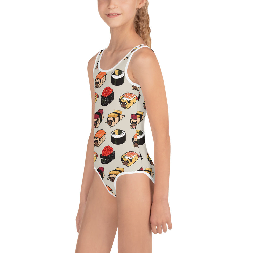 Sushi Pugs All-Over Print Kids Swimsuit